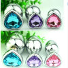 Wholesale Large Size Heart Shaped Stainless Steel Crystal Jewelry Anal Plug