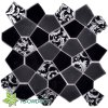 Black Flower Glass Mosaic (TG-OWD-573)