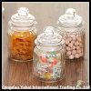 3 Pieces Clear Faceted Jar / Clear Glass Bell Jar