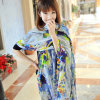 Silk Beach Dress Female Big Blue Scarf