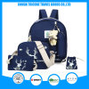 2017 Fashion Navy Blue Canvas Elk Printed Backpack Bag for a Set