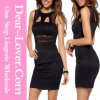 Sexy Black Y-Neck Mesh Cut-out Bodycon Dress