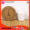 Round Floral Printed Pad Table Cup Mat with Paris Logo Picture Cup Mat Pad