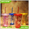 Hot Sale Double Wall BPA Free Plastic Water Tumbler with Sequins