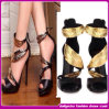 2014 Latest Fashion Sandals Gold Designer High Heel Shoes