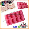 8 Cavity Oval Muffin Cupcake Silicone Baking Molds