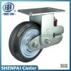 "5""Iron Core Black Rubber Rigid Shockproof Caster Wheel"