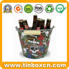 Galvanized Tin Pail Halloween Metal Ice Bucket with Wooden Handle