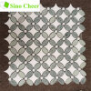 Ming Green Marble Mixed White Thassos Sunflower Pattern Marble Mosaic Tiles on Mesh
