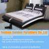 New Design Bedroom Furniture Soft White Leather Bed Set