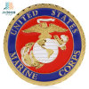 Customize USA Marine Deboss Paint Colors Metal Challenge Coin with Gear Border