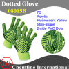 7g Fluorescent Yellow Acrylic Fiber Knitted Glove with 2-Side Black Strip-Shape PVC Dots