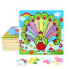 Factory Direct Hot 3D DIY Chindlren Cartoon Wooden Frame Puzzle Educational Toys Peacock