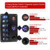 6 Gang 12V 24V Red LED Rocker Switch Panel Circuit Breakers Charger for Boat Marine
