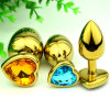 Golden Heart Shaped Stainless Steel Crystal Jewelry Anal Butt Plug Sex Toys Small Size 28mm X 70mm GS0312