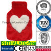 CE Heart Valentine′s Gift Plush Fur Hot Water Bottle Cover