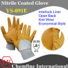 Interlock Glove with Anti-Microbial Yellow Nitrile Coating & Open Back & Knit Wrist/ En388: 4111/ Economical Style (YS-091E)
