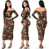 Two-Piece Set of Strapless Long Sleeve Lady Dress