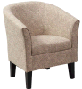Gray Wool Accent Chair with Wood Frame