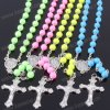 Wholesale Many Colours Catholic Chain Rosary Necklace with Virgin Mary Center & Metal Cross