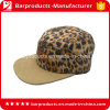 Leopard Crown Suede Brim 5 Panel Camp Hat with Leath Patch