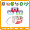 Round Confectionary Tin Can with Transparent Lid for Sweets Candy