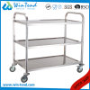 Stainless Steel Small Size 3 Tiers Square Tube Hand Push Moving Truck for Restaurant