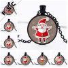 Festival Theme Christmas Santa Claus Pendant Cabochon Glass Necklace