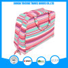 New Design Stripe Printed Microfiber Cosmetic Bag with Handle