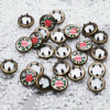 Custom Flower Logo Pearled Metal Brass Prong Ring Fasteners Button