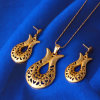 Xuping 18k Gold Color Arabia Fashion Laser Jewelry Set (61404)