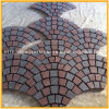 G611/G654 Black/Grey/Red Granite Mesh Cobblestones in Fan Pattern