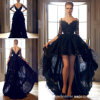 V Collar Lace Prom Formal Gowns Black Hi-Low Short Evening Dress Yao128