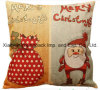 Christmas Home Decorative Custom Printed Cotton Linen Zipper Pillow Case