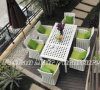 White Rattan Dining Set, 7 PC Patio Dining Set (Table and 6 Chairs)
