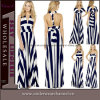 Sexy Versatile Straps Navy White Stripe Long Maxi Dress (6700)