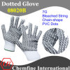 7g Bleached Polyester/Cotton Knitted Glove with 2-Side Black Chain-Shape PVC Dots