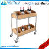 2018 Separated Style Wooden Wine Storage Rack Cart with 2-Tiers