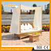 Holiday Resort Garden Outdoor Furniture Rattan Daybed Lying Bed Lounger Sofa with Curtain