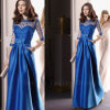 2014 Elegant Half Sleeve Satin Royal Bule Long Evening Dress for Prom Special Occasion Gown (CL149)