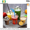 Bulk Order Pet Plastic Juice Cup with Lid & Straw