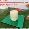 4mm Green Straight Edge Glass Candle Holder