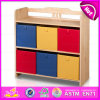 2015 New Cute Kids Wooden Toy Storage Rack, Popular Children Wooden Bin Organizer Toy Storage Rack with 9PCS Plastic Bins W08c038