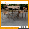 Indoor Coffee Shop Garden Patio Furniture Plastic Wood Aluminum Bar Chair Table Set