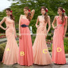 Pink and Coral Empire Cap Sleeves Long Bridesmaid Dress A12