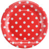 "Chalk Party 8"" Red with White DOT Paper Cake Plates"