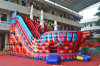Red Caribbean Pirate Inflatable Slide with Two Lanes