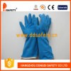 Ddsafety 2017 Blue Latex Spray Flock Lined Diamond Grip Beaded Cuff Household Working Gloves