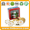 Square Christmas Window Tin for Biscuit Cookie Gift Packaging Box