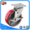 Swivel Industrial PU Steel Wheel Caster with Top Lock Brake